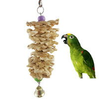 Bird Parrot Toys with Bell Natural Wooden Grass Chew Bite Swing Climb Hanging
