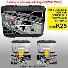 2 adesivi valigie BMW R1200GS K25 bussola + planisfero borse fino al 2012
