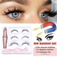 3Pair Magnetic False Eyelashes liquid Eyeliner Tweezer Eye Lashes Waterproof Kit