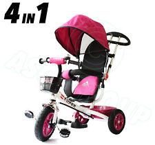White & Pink 4in1 Trike Push along Children Kids Ride on Pdeal Bike 3 Wheeler CE
