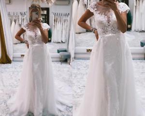Wedding Dresses Detachable Train A-Line Lace Applique Tulle With Belt Scoop Neck