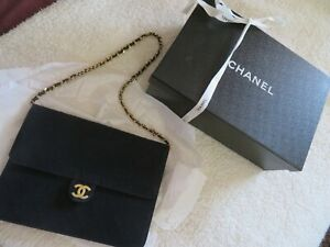 Vintage CHANEL Quilted Navy Blue Jersey Fabric Flap Handbag W/ Box & Ribbon NR