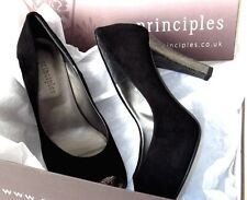 NEW Principles Black Suede & Silver Heels 1940/50s Style Court Shoe UK Size 5