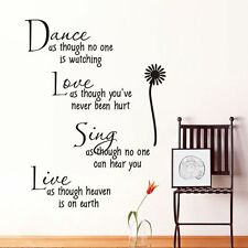 Dance Love Sing Live Flower bedroom Quote Wall Stickers Art Removable Decals Hot
