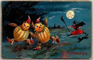 Vintage 1908 HALLOWEEN Postcard Witch Chasing Jack O'Lantern JoL Men TUCK'S #150