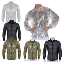 Men Glitter Sequins See Through Mesh Crop Tops T-Shirt Button Tank Vest Clubwear