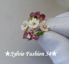 😍 Belle Unique bague argent 925 or rose Fleur feuille Email Nacre Rubis... T 60