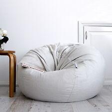 FUR BEANBAG Cover Soft Silver Grey Velvet Cloud Chair Bean Bag Reading Relaxing