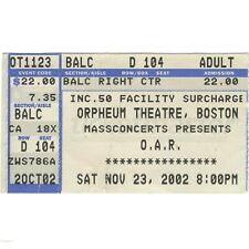 O.A.R. Concert Ticket Stub Boston Ma 11/23/02 The Orpheum Any Time Now Tour Rare
