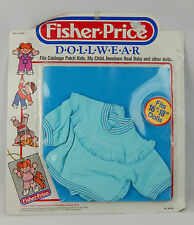 "Vintage 1985 Fisher Price Dollwear Doll Clothing Fits 16""-18"" Baby Blue"