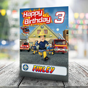 Fireman Sam Birthday Card - Personalise With Any Name and Age