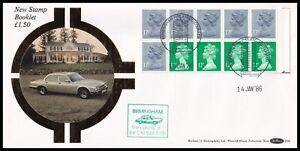1986 GB £1.50 Booklet Pane Selvedge Right Benham D36a FDC Birmingham H/S