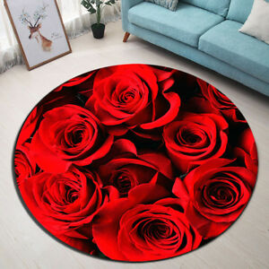 Red Beautiful Rose Round Area Rug Room Home Yoga Carpet Floor Non-slip Beach Mat