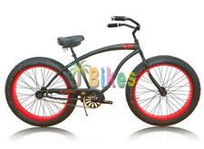 Micargi Slugo B Series Beach Cruiser Bike, Black with Red Rims - Fat Tire 4.0 Ch
