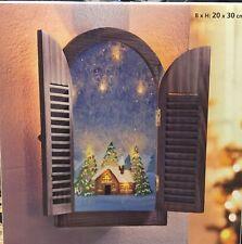 Leuchtbild ?Winter? Wandbild Glasbild Holzrahmen Fensterläden 8 LED Deko