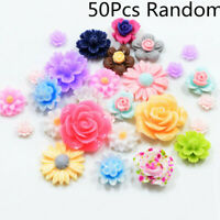 50X DIY Resin Beads Rose Flower Flat Back Embellishment Cabochons Decor Craft