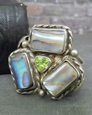 Flower Ring- Size 7.75 Sterling Silver, Abalone & Peridot