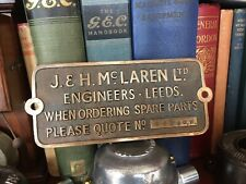 Original Old industrial Cast Brass Machine Plate J & H McLaren Ltd