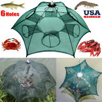 Fishing Bait Trap Foldable Minnow Crawdad Shrimp Cast Dip Cage Crab Fish Net USA