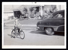 1960 BICYCLE w Training Wheels YOUNG BOY RIDER Automobile ORIGINAL PHOTOGRAPH