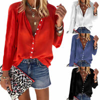 Plus Size Womens Button V Neck Blouse Loose Long Sleeve Casual Baggy T Shirt Top