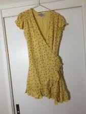 paddo to palmy Womens Yellow Floral Wrap Dress Size 2 Aus 10 Rayon Boho