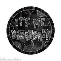 "6"" BLACK GLITZ Giant It's My Birthday Party Badge"