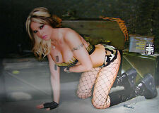 3D Lenticular Poster - Hot Sexy Military Girl - Bra From Bullets -12x16 Print