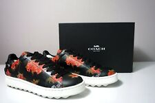 Coach Men's Wild Lily Print Black Leather Sneakers C101 Size 8