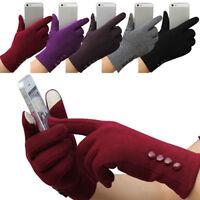 JW_ 1 Pair Women Fashion Touch Screen Outdoor Sport Winter Warm Button Gloves