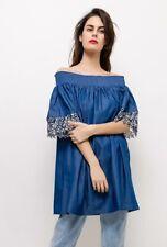 Ladies Womans Denimlook Plus size Tunic Dress With Lace Stretch Shoulder Summer