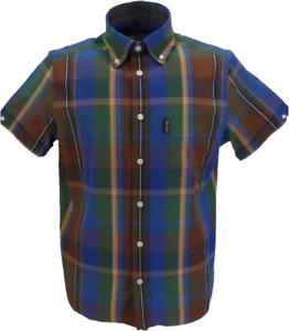 Trojan Mens Cobalt Blue Check 100% Cotton Short Sleeved Shirts and Pocket Square