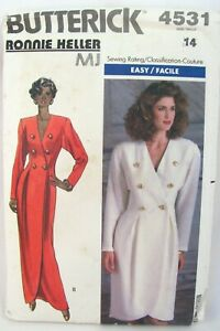 Double Breasted Maxi Dress Pattern Size 14 Butterick 4531 Ronnie Heller MJ Uncut