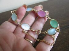 Vintage pastel cats eye glass beads bracelet