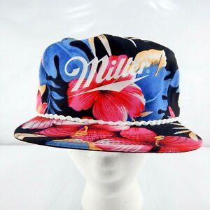 Miller Beer Black Floral Print Snapback Dad Hat w/ Braid