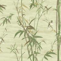 Wallpaper Designer Bamboo with Cute Birds, Beige Green Cream Taupe