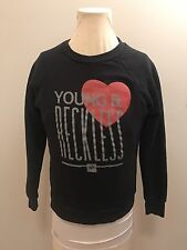 Young And Reckless Women's Black Crew Neck Sweater Size Small Streetwear