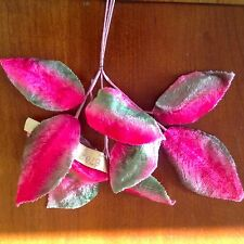 "Vtg Millinery Flower Leaf Pink Green Velvet 3 - 3 3/4"" German Silk Bunch Y284"