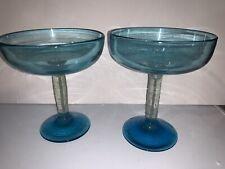 2 Margarita glasses cup in Blue transparent Cup