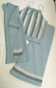 C&A Vintage 70's 80's Skirt Top & Matching Cardigan Blue Size UK (Fit 12)