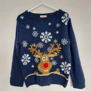 Boys Blue Christmas Reindeer Snowflake Jumper 5-6 Years