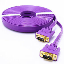 15 ft VGA to VGA Cable 15ft 5m Male to Male HD PC Monitor Cord Long Flat Purple