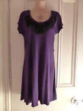 Next size 14 dark purple jersey tunic dress, 3D black flowers around the neck