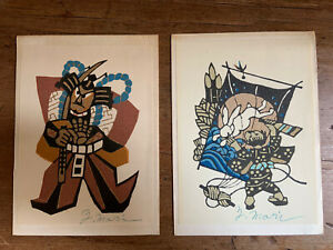 Pair of stencil prints hand signed by Yoshitoshi Mori (1898-1992) 1970s