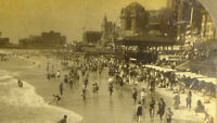 Stereoview Photo Atlantic City Nj Boardwalk factory mill stores buidlings CARD