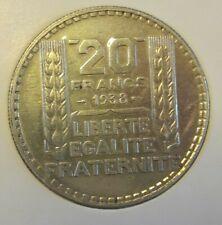 20 Francs Turin  1933 <<==1934==>> 1938 France. 3e République