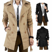 Mens Winter Slim Double Breasted Trench Coat Long Jacket Formal Overcoat Outwear