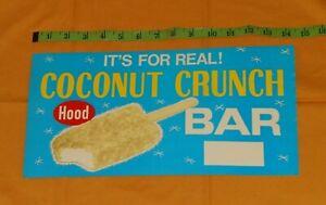 vintage HOOD ICE CREAM COCONUT CRUNCH BAR retail store display sign