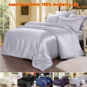 Seamless 1pc 22mm 100% Mulberry Pure Silk Doona Duvet Quilt Comforter Cover
