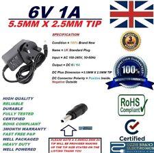 UK 6V 1A 1000mA AC100-240V 50/60Hz Alimentatore Adattatore 5.5MMX2.5MM 5.5X2.5 TIP